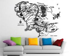 Middle Earth Map Vinyl Wall Art Decal WD0642 by Tapong on Etsy, $49.99