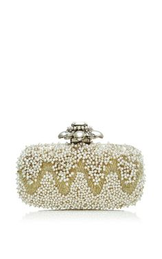Goa Cabochon Clutch In Ivory by Oscar de la Renta for Preorder on Moda Operandi