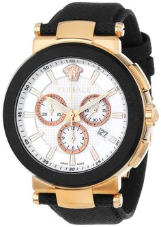 Men watches : Versace Men's VFG050013 Mystique Sport 46mm Rose Gold Ion-Plated Coated Stainless Steel Chronograph Tachymeter Date Watch