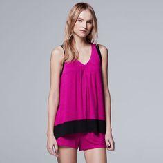 Women's Simply Vera Vera Wang Pajamas: Whisper Garden Tank Top & Boxer Shorts PJ Set, Light Pink