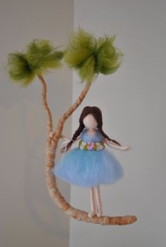 Girls Room Decor needle felted : Girl in a branch от MagicWool Waldorf Crafts, Waldorf Dolls, Nuno Felting, Needle Felting, Felt Angel, Felt Fairy, Simple Embroidery, Needle Felted Animals, Felt Dolls