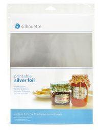 Stříbrná potisknutelná samolepící fólie - 8 listů