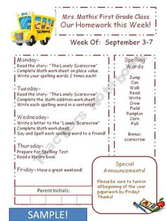 Early Childhood Homework Calendars Sept To Jan Teachers Notebook