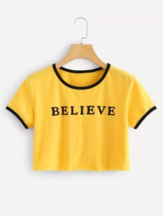 Letter Print Crop Tee - Cropped - Ideas of Cropped - Letter Print Crop TeeFor Women-romwe Girls Fashion Clothes, Kids Outfits Girls, Teen Fashion Outfits, Teenager Outfits, Crop Top Outfits, Cute Casual Outfits, Jugend Mode Outfits, Belly Shirts, Cute Crop Tops