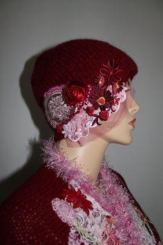 Cappello femminile, Bohemian Borgogna Alpaca a mano a maglia cappello - accessori invernali - arte da indossare