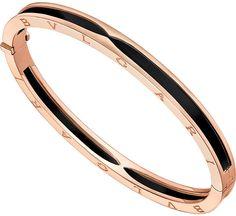 bulgari bzero 1 rose gold bangle bracelet with black ceramic size m