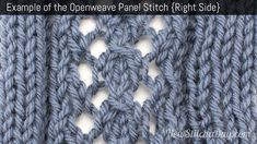 Example of the Openweave Panel Stitch Right Side