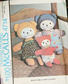 Vintage McCall's Pattern # 4714 / Bear Family and Clothes