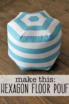 A step by step tutorial to make your own DIY floor pouf. The popular hexagon style pouf can be made in under an hour with basic sewing skills. Easy Sewing Projects, Sewing Projects For Beginners, Sewing Hacks, Diy Projects, Sewing Tutorials, Sewing Ideas, House Projects, Sewing Crafts, Sewing Patterns Free