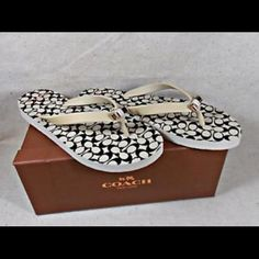 Authentic Coach Amal Flip Flop NWT never been worn, sticker still on bottoms. Coach AMEL Tan & Black Signature C Logo Engraved Bow Thong Sandals. Box not included. Coach Shoes Sandals
