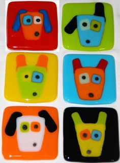 Dog Faces, Fused Glass Tiles for Mosaics, Coasters, Wall Decor, or Conversation Piece. By Judy Macauley of Omega Glass $24.99. Custom orders welcome.