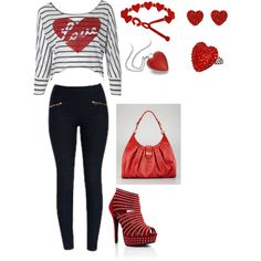 """""""<3"""" by deschae on Polyvore (cute valentines day outfit)"""