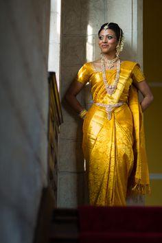 A vibrant first saree for the manavarai - #WeddzerSaree