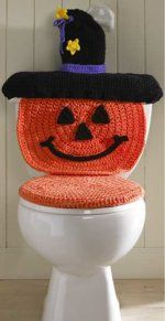 Pumpkin Crochet Toilet Cover