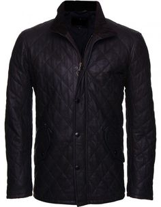 Men Classic Black Quilted Fashion Leather Biker Jacket