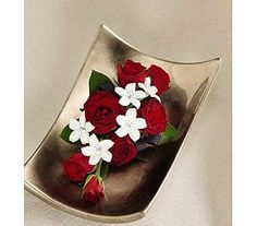 VB-53C Red roses and white steph wrist corsage