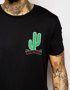 Image 3 ofASOS T-Shirt With Cactus Humour Chest Print