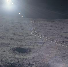 The Apollo 14 lunar module Antares on the moon. Feb. 5, 1971.
