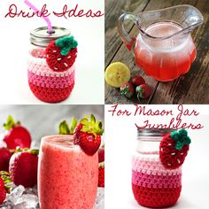 #masonjars #glasses #tumbler #summerpartydrinks #cozy #strawberry #crochet #msamandajayne Tumbler $25.00 @ #etsy