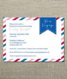 Bon Voyage - Honeymoon Travel Theme Wedding Shower Invitation