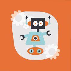 Orange Robot Themed Canvas Wall Art - boys room decor bedroom artwork – Homeworks Etc Kids