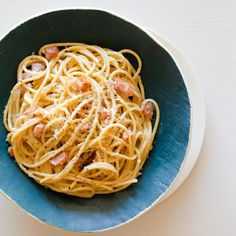 Basic Pasta Carbonara - my thoughts: basil is essential and if you can't get fresh then use dried, add some oregano, a lower fat milk will do if you don't want the cream (less creamy, but still good).