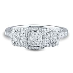 1/3 ct. tw. Three-Stone Diamond Ring in 10K White Gold