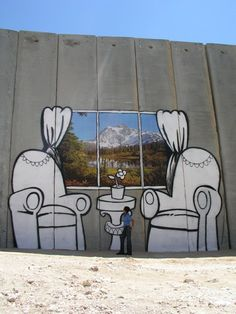 West Bank graffiti by Banksy. Art with intention of sparking and inspiring social discussion; it is not art for art's sake. This particular piece publicizes the plight of Palestinians. Banksy Graffiti, Street Art Banksy, 3d Street Art, Urban Street Art, Amazing Street Art, Street Artists, Bansky, Illusion Kunst, Illusion Art