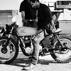 @caferiderme wearing Motorpool jeans on his amazing custom #HondaCB550 www.uglybrosusa.com