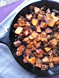 1½ pounds peeled, seeded, and cubed butternut squash (many grocery stores have 12-ounce packages of fresh, ready-to-cook butternut squash in the produce aisles) 2 gala apples, peeled, cored and diced ¼ cup raisins ¼ cup walnuts ¼ cup dried cranberries 1 Tbsp cinnamon ¼ tsp vanilla ¼ cup brown sugar 2 Tbsp butter
