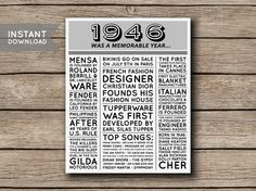 1946 Instant Download Printable 70th Birthday by shopmarigoldlane