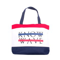 Crisp new Know Wave Beach Tote Bag... the perfect bag for toting around your everday, everything.