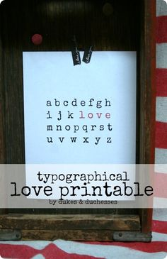 "DIY Home Decor | Valentines Day | Get this FREE Pottery Barn inspired alphabet ""LOVE"" print for Valentine's Day!"