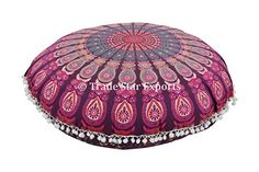"""Large Floor Pillows, Round Mandala Throw, Outdoor Cushion Cover, Decorative Pillowcases 32"""", Indian Pouf, Boho Ottoman, Roundie Cushions, Pom Pom Pillow Shams With Insert"""