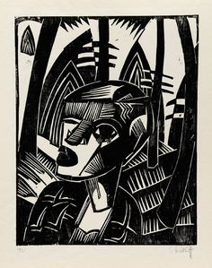 Karl Schmidt-Rottluff - 'Woman In The Forest' woodcut, 1919, was signed and dated '1921'.