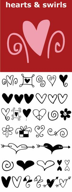 Hearts and swirls, some solid, some line but lots of little graphics to finish off that wedding, birthday or baby announcement, invitation or flyer. Doodle Drawings, Easy Drawings, Doodle Art, Doodle Borders, Doodle Lettering, Sharpie Art, Valentine Day Cards, Valentines, Sketch Notes