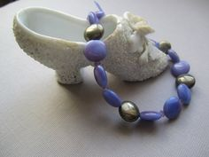 Lavendar Blue Glassbeads and Pyrite Coins by BijouxEmmElle on Etsy, $23.00
