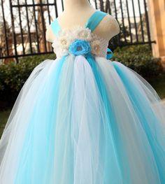 Turquoise and White Wedding Dresses   Grey white tutu dress baby dress toddler birthday dress wedding dress ...