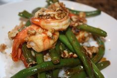 Hoisin-Chile Shrimp with Green Beans and Walnuts