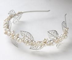 silver leaves pearl tiara ivory freshwater pearl by PearlsByTabs, $125.00
