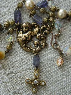 Cherub Assemblage Necklace by 58Diamond on Etsy