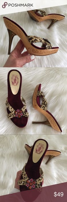 "HALE BOB Platform Sandals size 8 Sexy jewel adorned leopard sandal pumps by Bob Hale. Cranberry Velvet insoles, spike and carved wooden bottoms.  Metallic bronze 5"" heel with a 1"" wooden platform.  Super hot   Create a bundle and I'll send you a private offer!! Hale Bob Shoes Heels"