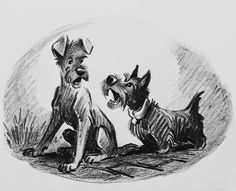 concept art of Tramp and Jock from Lady and the Tramp