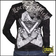 Marilyn Lock & Load Long Sleeve Hooded Top. Available for purchase at http://www.bikerclothingcompany.com/collections/womens-marilyn/products/marilyn-lock-load-long-sleeve-hooded-top