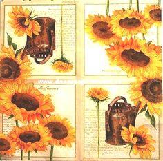 Ubrousky 33 x 33 cm | Květiny - SLUNEČNICE | Konev a slunečnice | Decoupage, ubrousky, dekorace, Twist Art Decoupage, Paper, Painting, Art, Art Background, Painting Art, Kunst, Paintings, Performing Arts