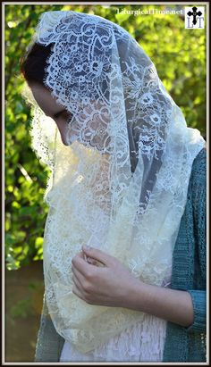 French Lace Infinity Veil ~ FLV3 - Catholic Mantilla, in Cream Imported French Lace Catholic Infinity scarf inspired lace chapel veil mantilla Christian headcovering for church, prayer, or daily wear.