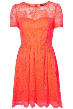 Neon Lace Flippy Dress - Fit & Flare Dresses - Dresses - Apparel - Topshop USA