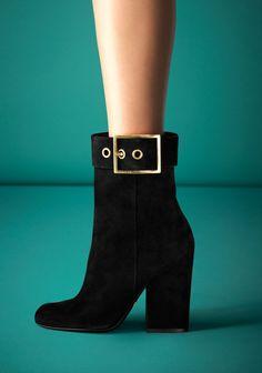 Gucci Kesha Black Suede High-Heel Bootie