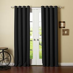 "Best Home Fashion Thermal Insulated Blackout Curtains - Antique Bronze Grommet  Top - Black - 52""W x 90""L - (Set of 2 Panels), http://www.amazon.com/dp/B00HJG6HLO/ref=cm_sw_r_pi_awdm_x_PI7PxbM43PDPE"
