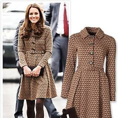 Kate Middleton in bird print dress with brown tights and ankle boots. Looks Kate Middleton, Estilo Kate Middleton, Kate Middleton Outfits, Dress Outfits, Fall Outfits, Fashion Outfits, Womens Fashion, Fashion Trends, Fashion Coat